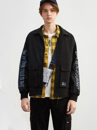 Tonlion Men's Jacket Loose Letter Embroidered Top Fashion Zipper Solid Turn Down Collar Long Sleeve Casual