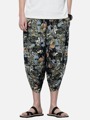 Men's Causal Pants Causal Vintage Print Pockets Plus Size Skinny Casual Elastic Waist Cropped Mid Waisted Loose