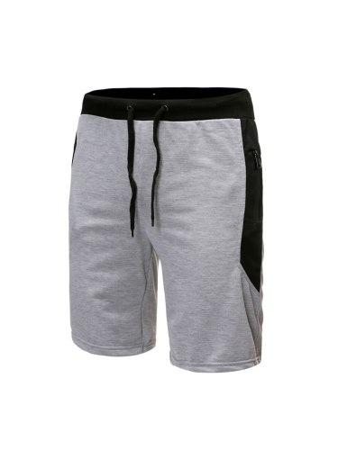 Men's Shorts Waist Drawstring Solid Zipper Patchwork Short Elastic Waist Mid Waisted