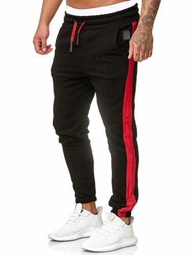Men's Casual Pants Belt Pocket Patchwork Mid Waisted Fashion Elastic Waist Plus Size Full Length Skinny