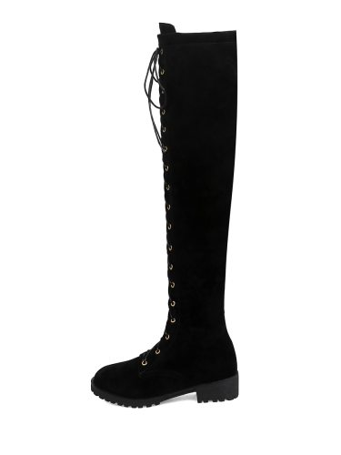 Women's Above Knee Boots Solid Color Lacing All Match Strappy 35 cm Closed Toe Imitation Fur Shoes Thick Heels Rubber Sole flat boots Party
