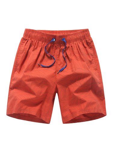 Men's Beach Drawstring Casual Short Shorts Mid Waist Elastic Waist Print Quick Dry
