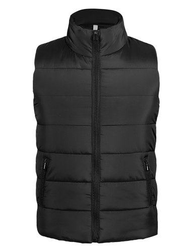 Men's Quilted Coat Solid Color Stand Collar Sleeveless Fashion Slim Coats Zipper