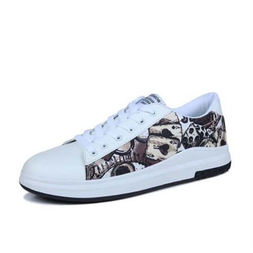 Women's Fashion Sneakers Trendy Print Round Toe Platforms Youth14-30Age Sports & Leisure 2 cm Tendon Bottom Holiday Flat0-3cm Imitation Fur Lacing