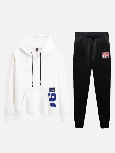 Men's 2Pcs Sets Pocket Hoodie Bandage Sport Pants Casual Long Sleeve Crew Neck