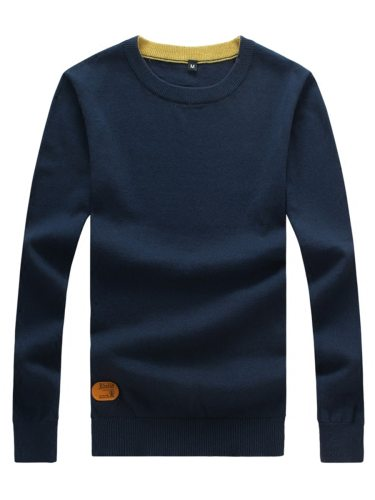 Men's Pullover High Quality Casual Solid Long Sleeve Fashion Crew Neck