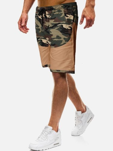 Men's Cargo Shorts Fashion Patchwork Short Elastic Waist Loose Camouflage Mid Waisted Date