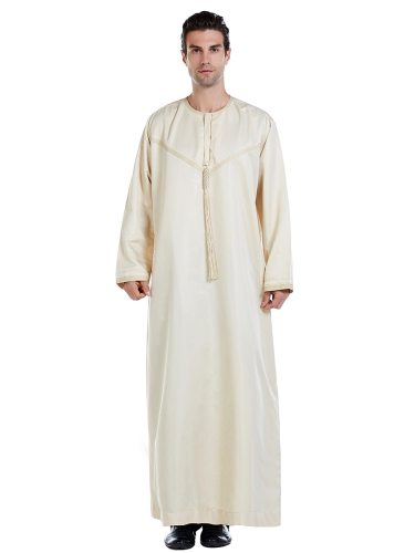 Men's Kaftan Solid Color Loose Arabian Long Sleeve Embroidery Crew Neck