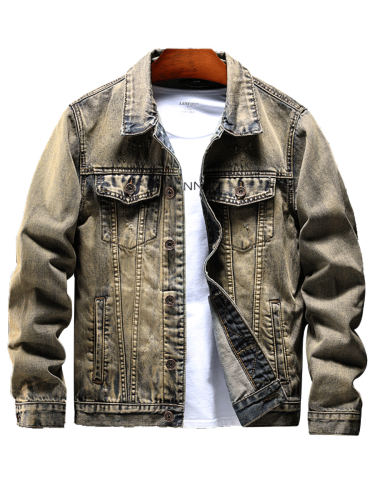 Men's Jacket Long Sleeve Embroidery Turn Down Collar Casual Loose