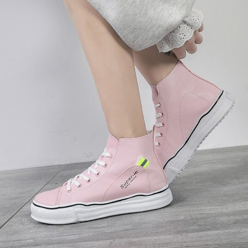 Women's Fashion Sneaker Round Toe Fashion Canvas Casual Youth14-30Age Strappy Date Solid Color Rubber Sole Sports & Leisure Lacing Platforms PU 3 cm