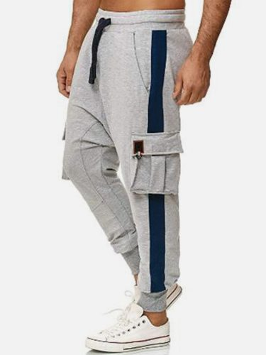 Men's Pants Color Block Patchwork Pocket Drawstring Waist Ankle-Tied Casual Mid Waisted Full Length