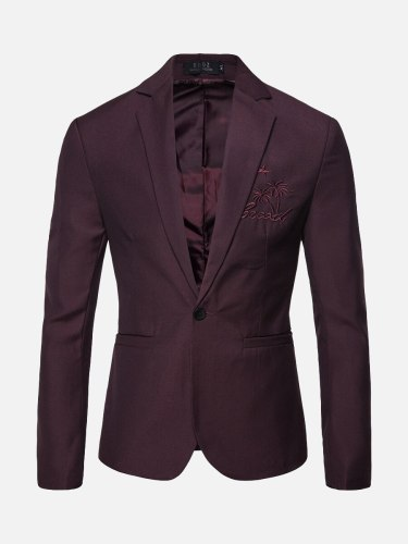 Men's Blazer Collar Long Sleeve Pattern Blazers Embroidery Single Button Slim Notched