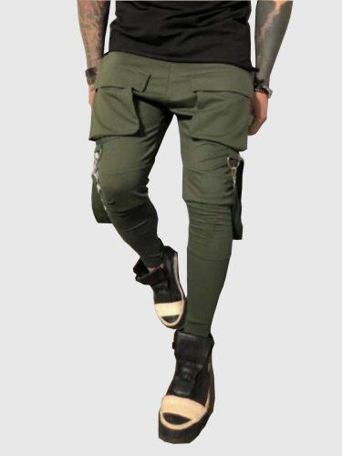 Men's Harem Pants Solid Color Pockets Drawstring Waist Casual Full Length Mid Waisted Slim Skinny