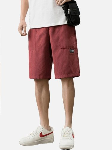 Men's Shorts Pocket Solid Color Casual Mid Waisted Elastic Waist Patchwork