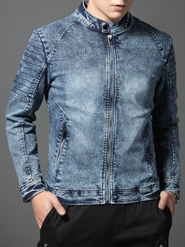 Men's Denim Jacket Fashion Thicken Long Sleeve Plus Size Casual Patchwork Stand Collar Slim Zipper