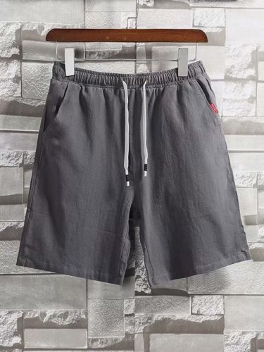 Men's Shorts Pocket Drawstring Solid Color Mid Waist Going Out Mid Waisted