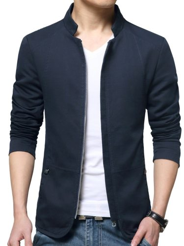 Men's Jacket Simple Solid Color Casual Long Sleeve Stand Collar Zipper