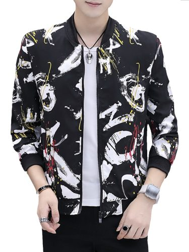 Men's Jacket Letter ed Loose Zipper Casual Stand Collar Plus Size Long Sleeve Slim Print
