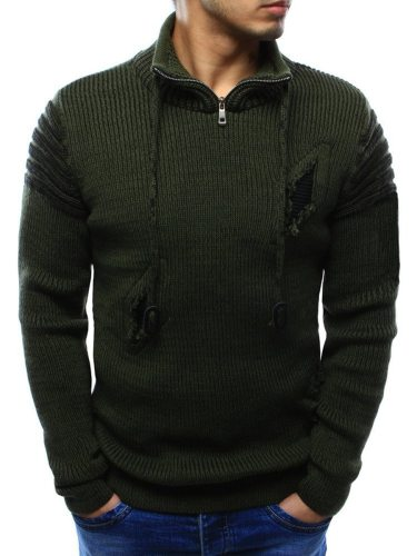 Men's Sweater Color Hole Zipper Decor Stand Collar Solid Casual Slim Long Sleeve
