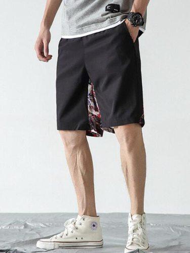 Man's Beach Animal Print Pocket Short Shorts Elastic Waist Breathable Mid Waist