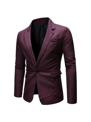 Men's Blazer Long Sleeve Turn Down Collar Casual Fashion Single Breasted Check Pattern Blazers Going Out Notched