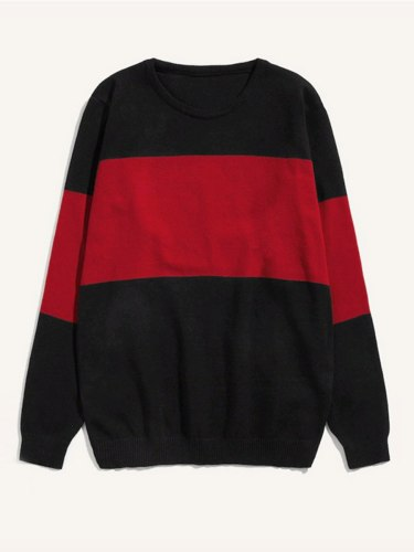 Men's Sweater Colorblock Casual Long Sleeve School Striped Crew Neck