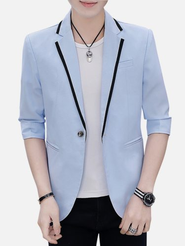 Men's Blazer Three Quarters Sleeve Casual Button Fashion Colorblock Single Breasted Notched