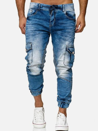 Man's Jeans Fashion Pocket Patchwork Draping Slim Mid Waisted Casual Regular