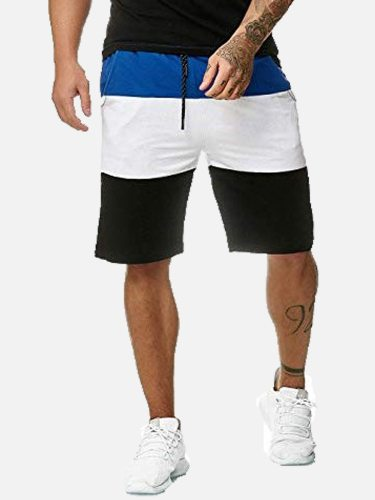 Men's Casual Shorts Colorblock Drawstring Short Mid Waisted Patchwork