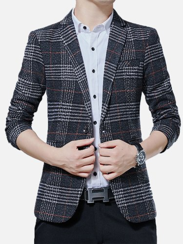 Men's Blazer Long Sleeve Plaid Pocket Casual Single Breasted Button Notched Check Pattern