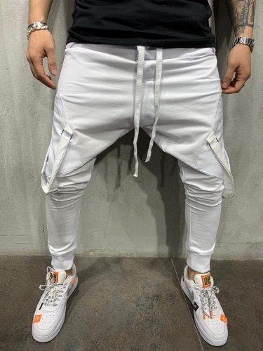 Men's Active Pants Solid Color Drawstring Full Length Fashion Slim Mid Waisted Drawstring Waist Pocket Pencil Pants