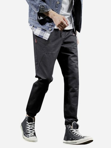 Tonlion Men's Pants Loose Pants Comfortable Ankle-Tied Casual Full Length Drawstring Waist Mid Waisted