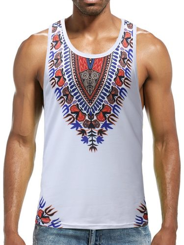 Men's Tanks Patchwork Sleeveless Ethnic Style Chic Sweat Absorption Print Crew Neck Casual Plus Size