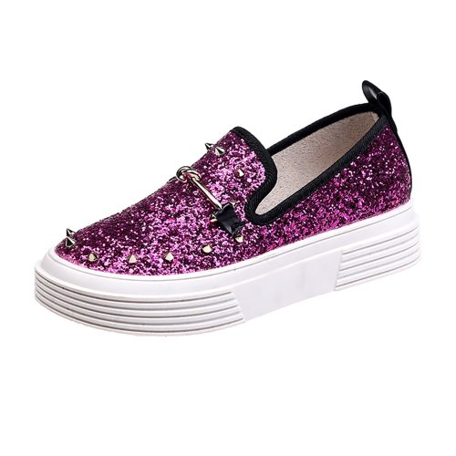 Women's Loafers Decorated Simple Sequins Decorated All-Match Medium35-6CM Sweet Light Holiday Slip-On PU Solid Color 4 cm Platforms Youth14-30Age
