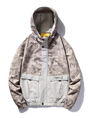 Men's Jacket Camouflage Hooded Going Out Zipper Fashion Long Sleeve Colorblock