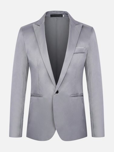 Men's Blazer Long Sleeve Fashion Solid Color Notched Pocket Single Breasted Blazers