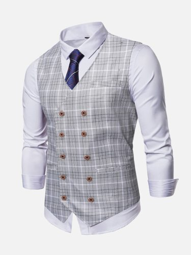 Men's Vest Jacket Single Breasted V Neck Double Breasted Slim Fashion Plaid Button