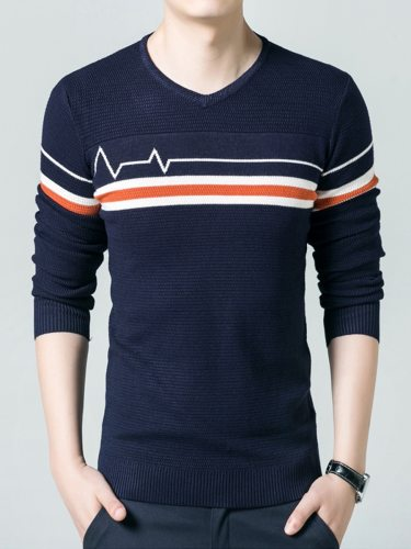 Men's Pullover V Neck Striped Color Block Slim Colorblock Casual Crew Neck Long Sleeve