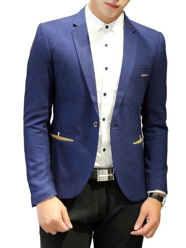 Men's Blazer Long Sleeve Patchwork Pocket Single Button Notched School Fashion