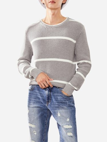 Tonlion Men's Sweater Striped Decor Round Neck s Style Solid Loose Long Sleeve Crew Neck Casual Work