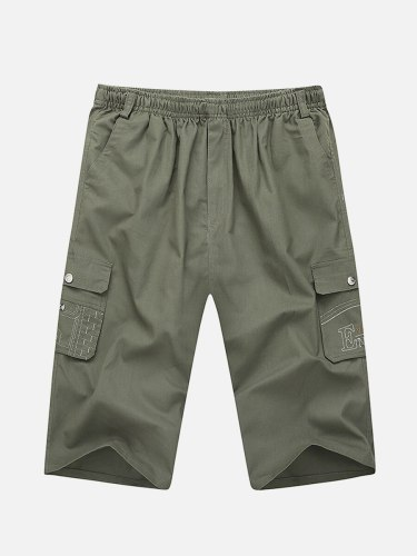 Men's Cargo Shorts Fashion Solid Color Simple Short Elastic Waist Mid Waisted Date Patchwork