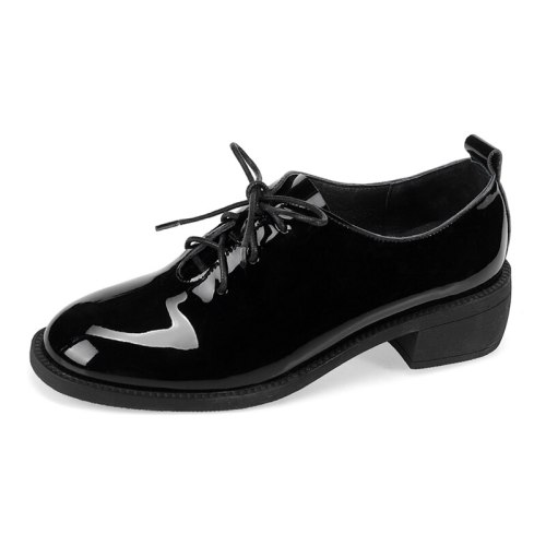 Kumikiwa Women's Oxfords All-Match Shoes Medium35-6CM Strappy Square Heels Patent Leather/Bright Leather Round Toe Rubber Sole Middle Age30-50 Solid