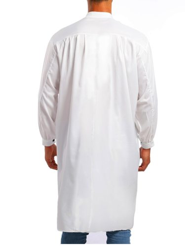Men's Arabian Clothing Color Stand Collar Buttons Long V Neck Solid Long Sleeve