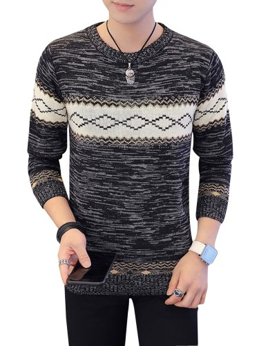 Men's Sweater Classic Rhomboid Pattern Long Sleeve Crew Neck Fashion School The necklace is not included Geometric
