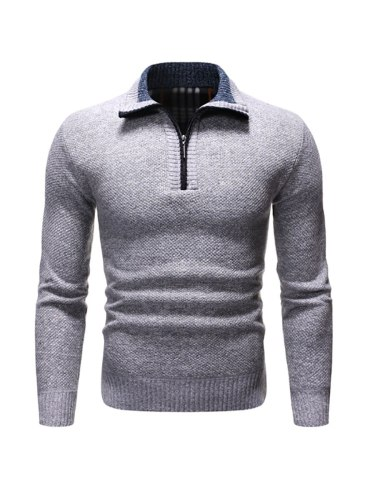 Men's Cardigan Zipper Solid Color Slim Fashion Regular Turn Down Collar Going Out Long Sleeve