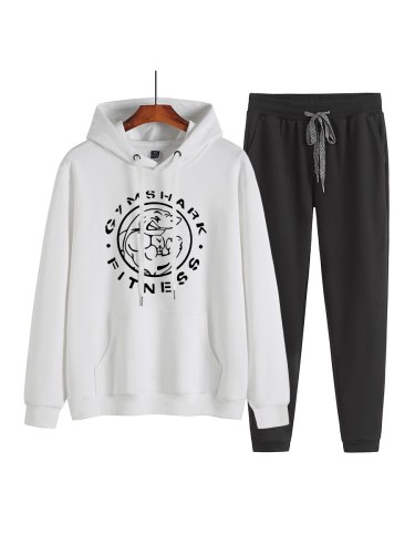 Men's 2Pcs Set Loose Print Hoodie Fashion Pants Sport Sports Letter Crew Neck Casual Regular Long Sleeve