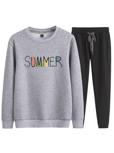 Men's 2Pcs Set Fashion Letter Sweatshirt Solid Color Loose Causal Pants Long Sleeve Print Casual Crew Neck
