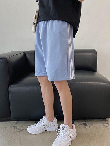 Men's Shorts Fashion Loose Short Mid Waisted Elastic Waist Patchwork