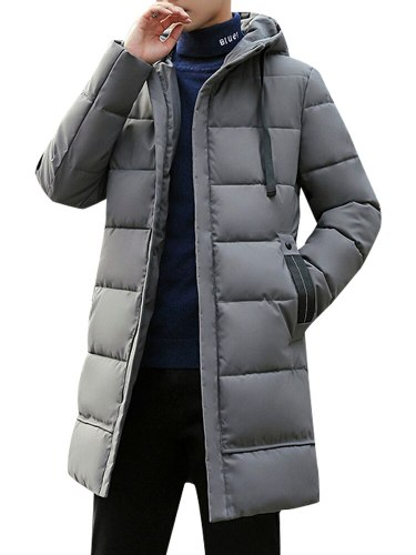 Men's Quilted Pocket Solid Color Long Sleeve Zipper Hooded Casual Going Out Coats Slim