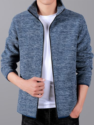Men's Jacket Long Sleeve Stand Collar Casual Going Out Zipper